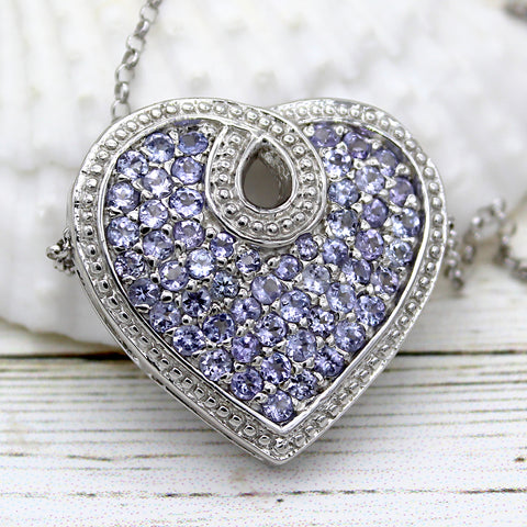 Tanzanite Halo Heart Necklace Pendant