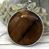 Natural Huge Tiger's Eye Stone Round Statement Pendant