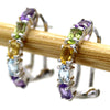 Natural Oval Cut Amethyst Topaz Citrine Peridot Earrings
