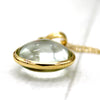 18k Yellow Gold Natural Green Amethyst Fine Necklace Pendant