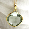 Natural Green Amethyst Fine Necklace Pendant 18k Yellow Gold