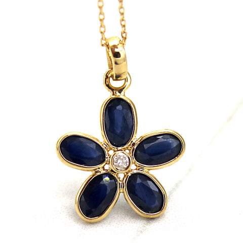 Natural Blue Sapphire Diamond Fine Flower Pendant
