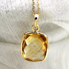 18k Solid Yellow Gold Citrine Necklace Pendant