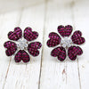 Flower Simulant Ruby Invisible Set Statement Earrings