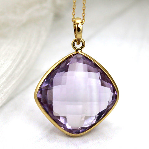 18k Solid Yellow Gold Natural Amethyst Fine Necklace Pendant