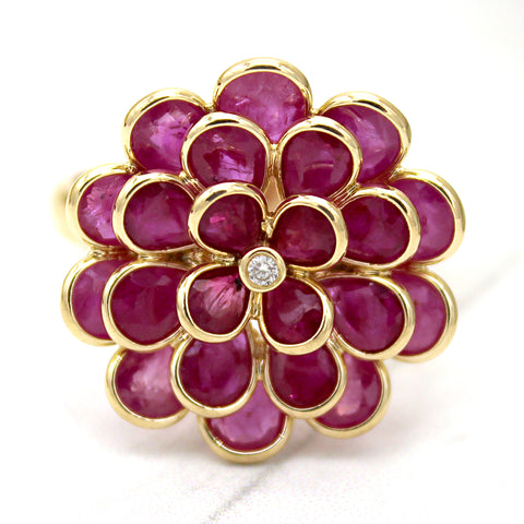 Flower Ruby Diamond Fine Ring 18k Solid Yellow