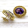 Huge Oval Natural Amethyst Citrine Fine Earrings