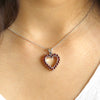 Citrine Garnet Double Sided Heart Pendant