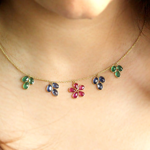 Flower Necklace Natural Ruby Blue Sapphire Emerald 18k Solid Yellow Gold