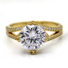 3 Ct Round Simulated Diamond Engagement Ring 14kt Yellow Gold