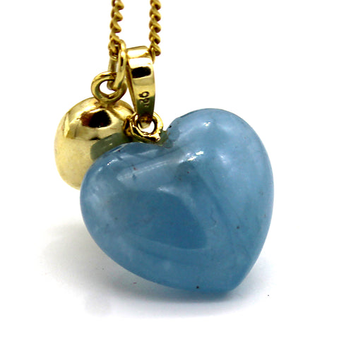 Blue Chalcedony Heart Charm Necklace Pendant