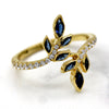 Simulated Sapphire & Diamond Leaf Ring 14kt Yellow Gold