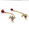 Natural Ruby Emerald White Sapphire 18k Gold Dangling Earring