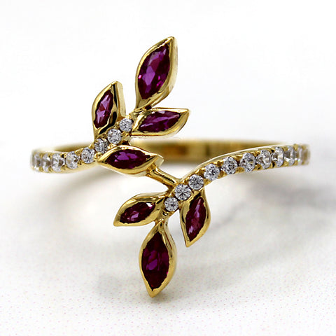 Simulated Ruby & Diamond Leaf Ring 14kt Yellow Gold