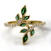 Simulated Emerald & Diamond Leaf Ring 14kt Yellow Gold