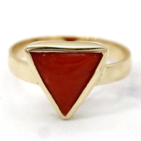 4 CT Trillion Italian Coral Gemstone Ring 9kt Yellow Gold