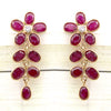 18k Solid Yellow Gold Natural Ruby Diamond Fine Earrings