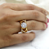 2 Ct Solitaire With Accents Simulated Diamond Engagement Ring 14kt Yellow Gold