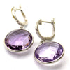 Round Natural Amethyst Drop Dangle Fine Earring