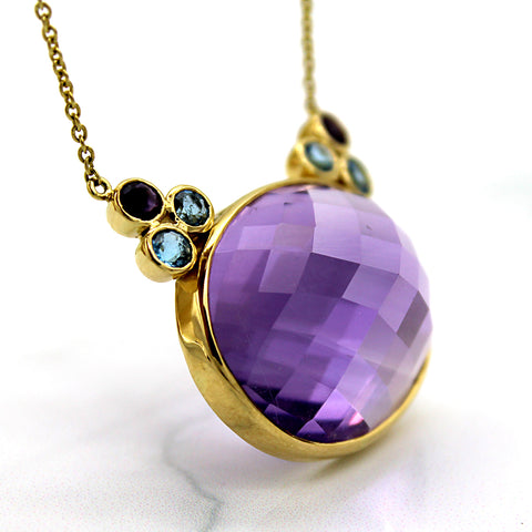 18k Yellow Gold Natural Amethyst Blue Topaz Fine Necklace Pendant