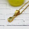 Green Peridot & Diamond 18k Solid Gold Pendant