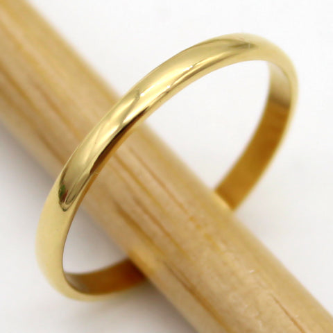 18k Pure Yellow Gold Plain 2MM Classic Wedding Band