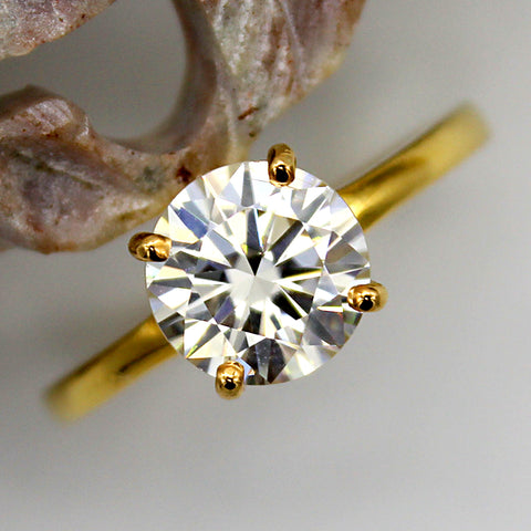 1.5 CT Round Brilliant Cut Moissanite Fine Ring
