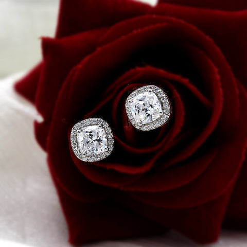 Cushion Halo Wedding Stud 14kt White Gold Earrings