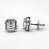 Asscher Halo Wedding Stud 14kt White Gold Earrings
