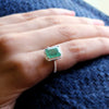 Natural Emerald & Diamond Halo Wedding Fine Ring