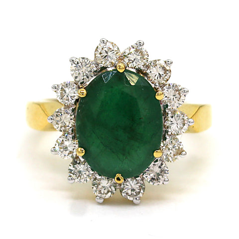 14k Solid Yellow Gold Natural Emerald Fine Diamond Ring