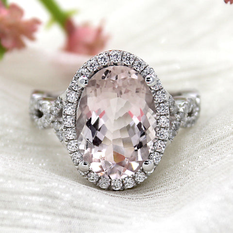 6 CT Natural Oval Morganite Halo Diamond Engagement Ring