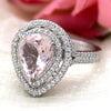 5 CT Pear Morganite Diamond Engagement Double Halo Ring