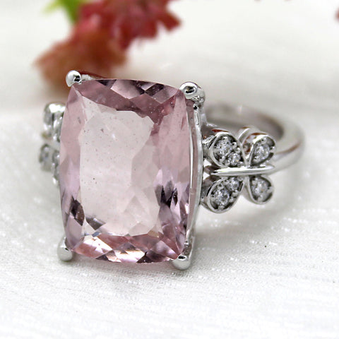 5.3 CT Modified Rectangular Morganite Diamond Engagement Ring
