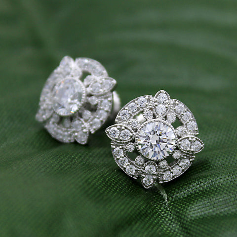 14kt White Gold Art Deco Round Diamond Stud Earrings