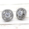 Art Deco Round Diamond Cluster 14k White Gold Earrings