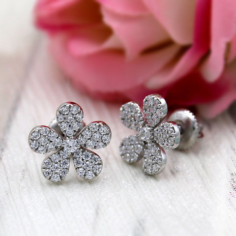 Delicate Flower Cluster 14kt White Gold  Earrings
