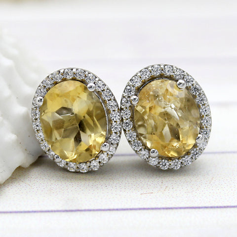 Natural Oval Citrine Halo Stud Fine Earrings