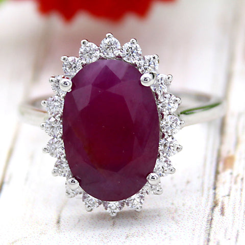 Natural Ruby 6 CT Oval Halo Ring