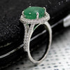 Natural Oval 3.5 CT Emerald Halo May Birthstone Ring