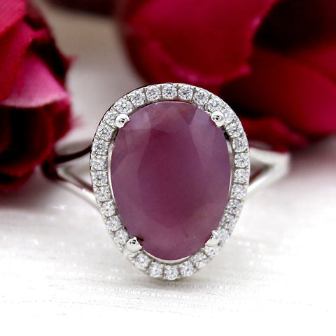 3.5 CT Asymmetric Natural Ruby Halo July Birthstone Ring