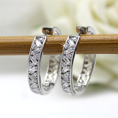 Baguette & Round Natural Diamond Unique 14kt Gold Hoop Earrings