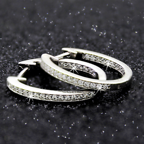 Inside Out Genuine Diamond Milgrain Hoop Earrings