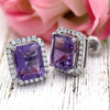 6 TCW Natural Emerald Cut Amethyst Halo Stud Fine Earrings
