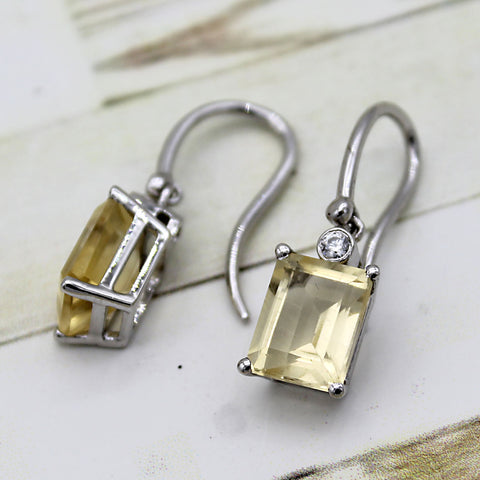 5 TCW Natural Emerald Cut Citrine Dangle Drop Fine Earrings