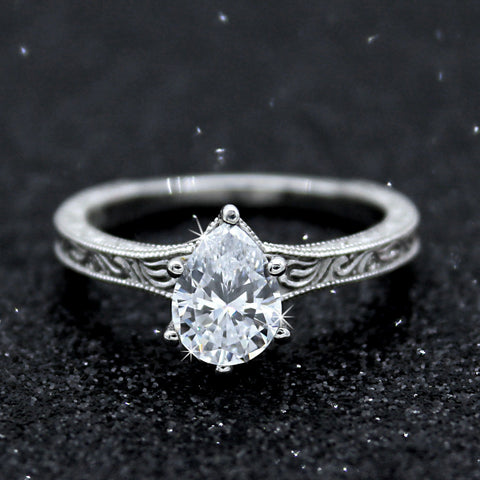 Pear Cut Genuine Diamond Solitaire Carved Ring 0.90 CT GIA Certified