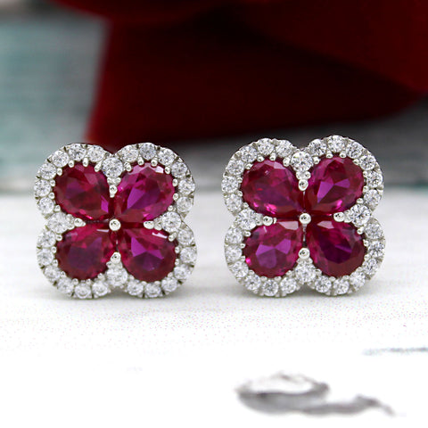 Pear Ruby Simulant Flower Stud Earrings