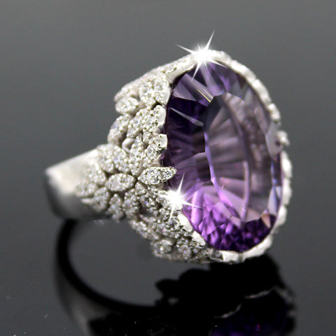Natural Amethyst & Swarovski Zirconia Oval Cut Fine Ring
