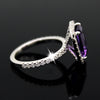 Emerald Cut Natural Amethyst & Swarovski Zirconia Ring