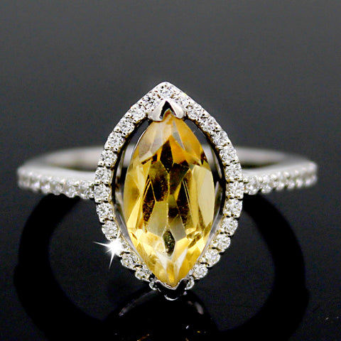 Natural Citrine Marquise Halo Engagement Ring